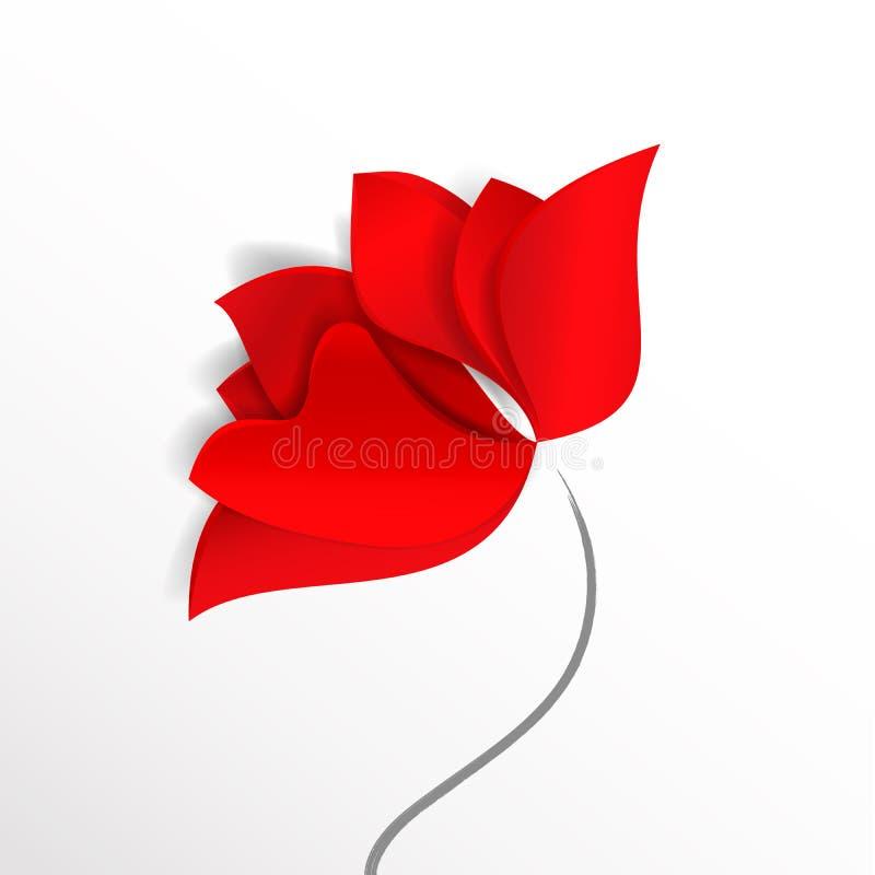 Eine rote abstrakte Blume, Mohnblume, Tulpe oder stieg Vektorfeiertagsdesignkarte oder -tapete der Art 3d des Frühlinges helle Pa vektor abbildung