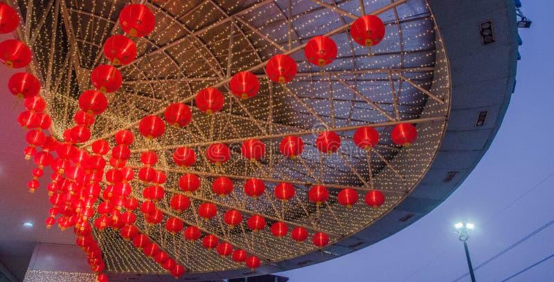 Eine rote chinesische Lampe für ein neues Mondjahr kein 5 lizenzfreie stockfotos
