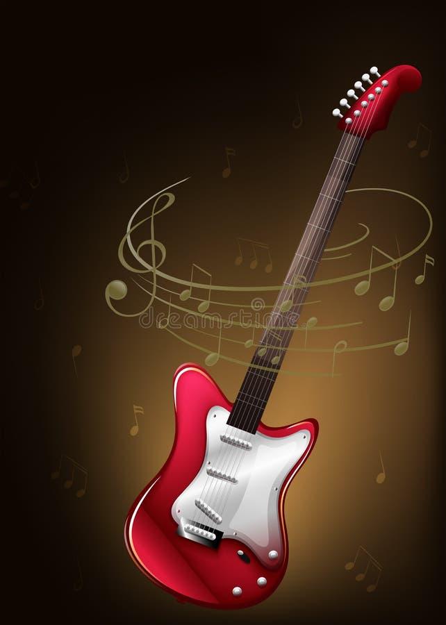 Eine rote Gitarre mit musikalischen Anmerkungen stock abbildung