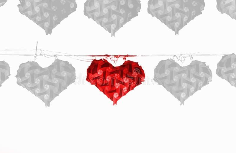 Eine Rote Herzlampe, Die Auf Draht Mit Vielen Graue Herzlampe Hängt ...