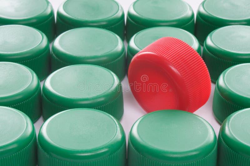 Eine rote Schutzkappe stockbilder
