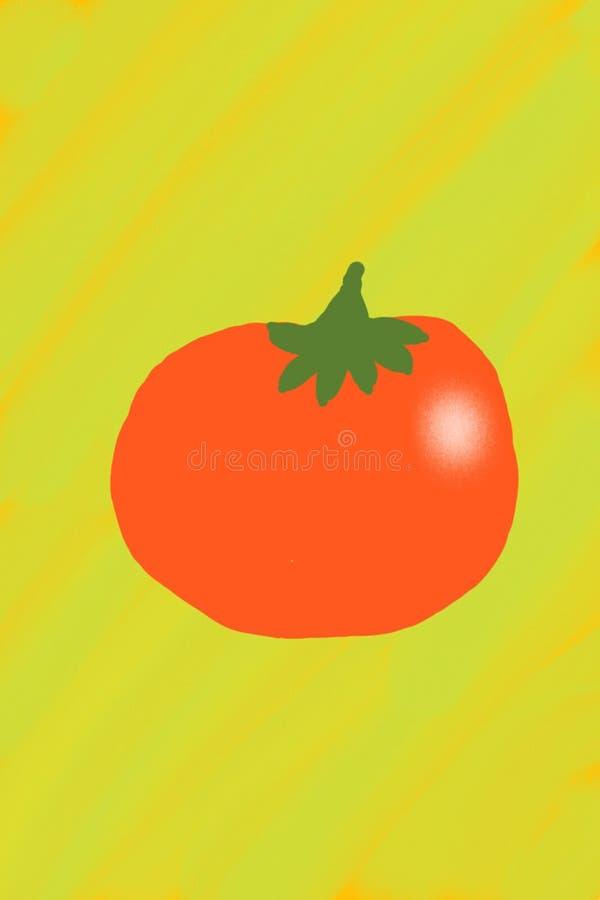 Eine rote Tomate gemalt auf einem gelben Hintergrund - eine Nachahmung einer Fingermalerei vektor abbildung
