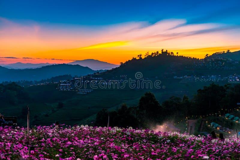 Eine ruhige szenische Landschaft des schönen Sonnenuntergangs mit dem Erholungsort, der an Montag-Stau, Chiang Mai, Thailand kamp stockfotografie