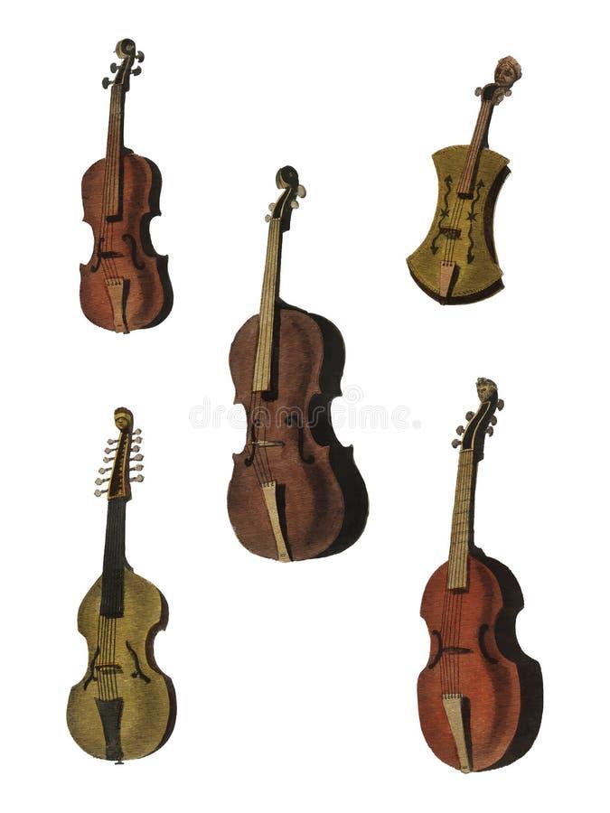 Eine Sammlung antike Violine, Viola, Cello und mehr von der Enzyklopädie stock abbildung