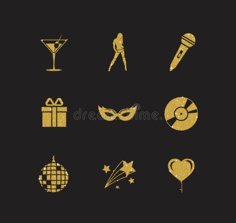 Eine Sammlung funkelndes Goldfunkeln stilisierte fantastische Nachtclub- und Parteiikonen für Flieger, Fahne, Typografie, Netz stock abbildung