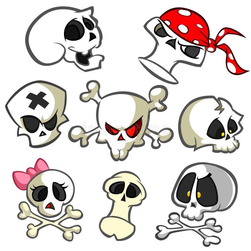 Eine Sammlung Vektorkarikaturschädel in den verschiedenen Arten Schädelikonen Halloween-Elemente für Parteidekoration vektor abbildung
