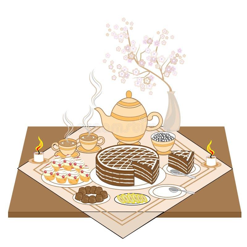 Eine schön verzierte festliche Tabelle durch Kerzenlicht Wohlriechender heißer Tee mit Kuchen, vorzüglichen Plätzchen und Praline vektor abbildung