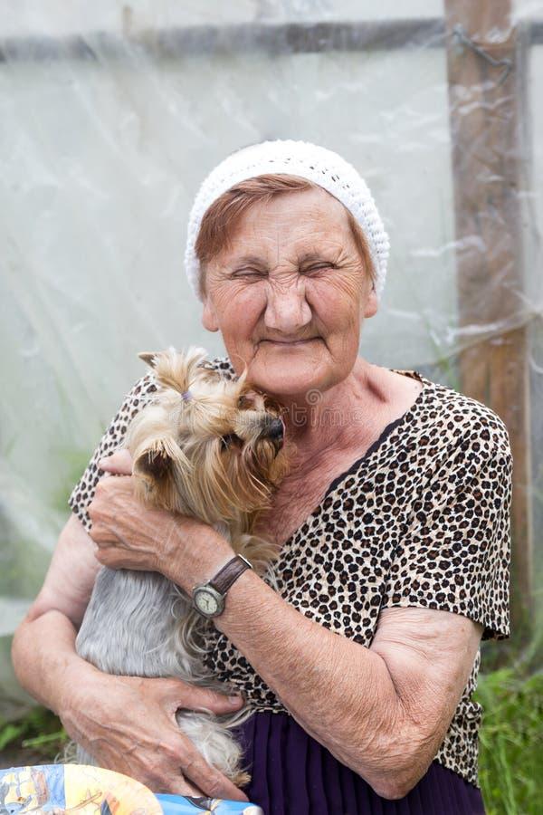 Eine schöne ältere Frau mit ihrem Hund in einem Sommergarten stockfotografie
