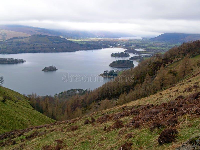 Eine schöne Ansicht die Seen herein, Cumbria, England stockbild