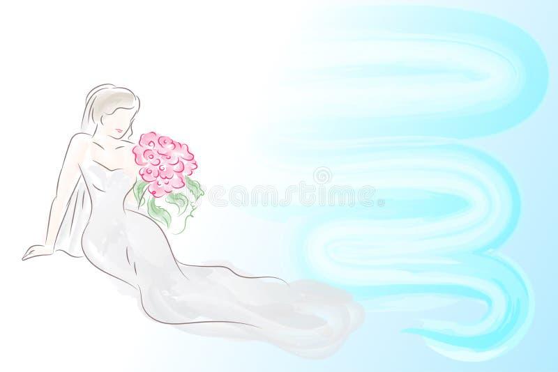 Eine schöne Braut in einem weißen Kleid Träume eines glücklichen Lebens stock abbildung