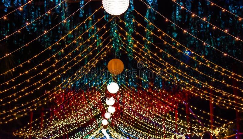 Eine schöne Dekoration bei einer hindischen Gelegenheit in der Nacht lizenzfreies stockbild