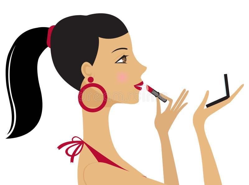 Eine schöne Frau, die Lippenstift anwendet stock abbildung