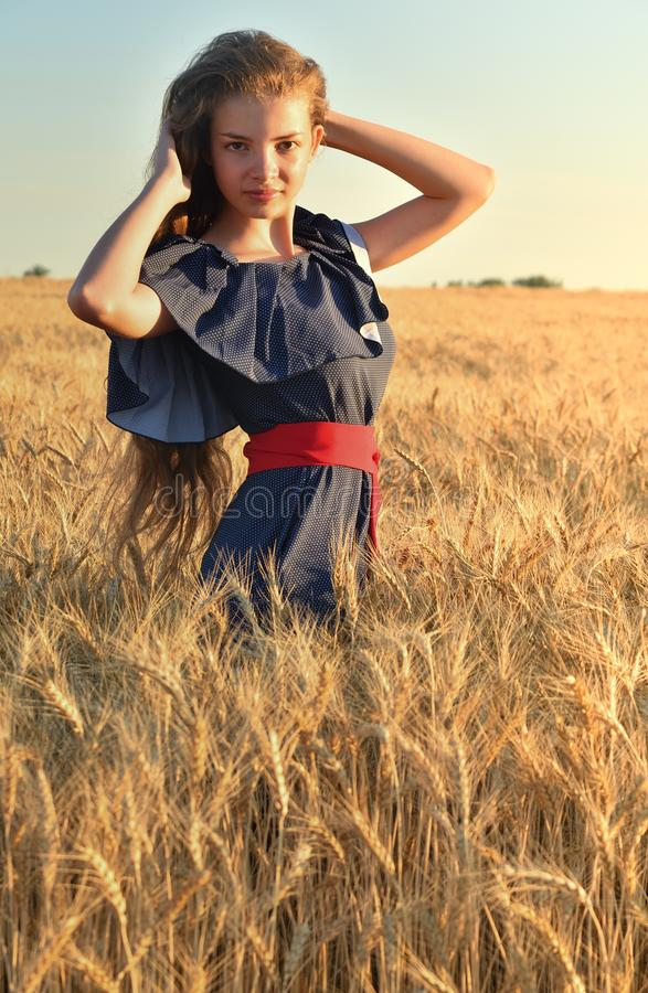 Eine schöne junge Frau mit dem langen Haar, das auf dem Weizengebiet steht Berührt ihr Haar stockfotografie
