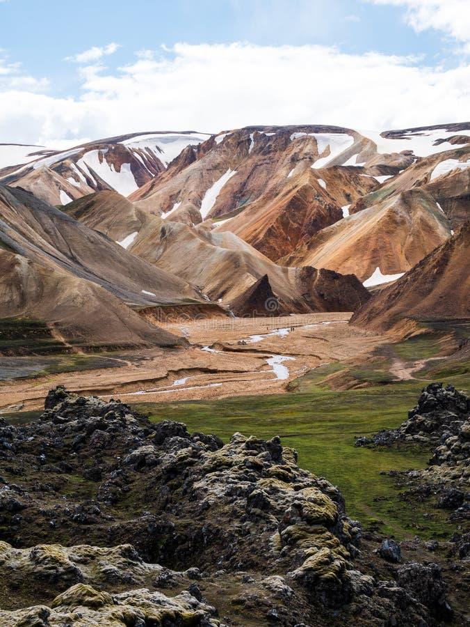 Eine schöne Landschaft von Landmannalaugar, Island lizenzfreie stockbilder