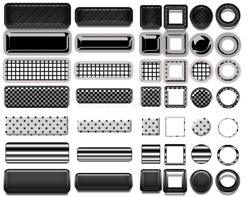 Eine schöne schwarze Auswahl von Website knöpft in den verschiedenen Formen lizenzfreie abbildung