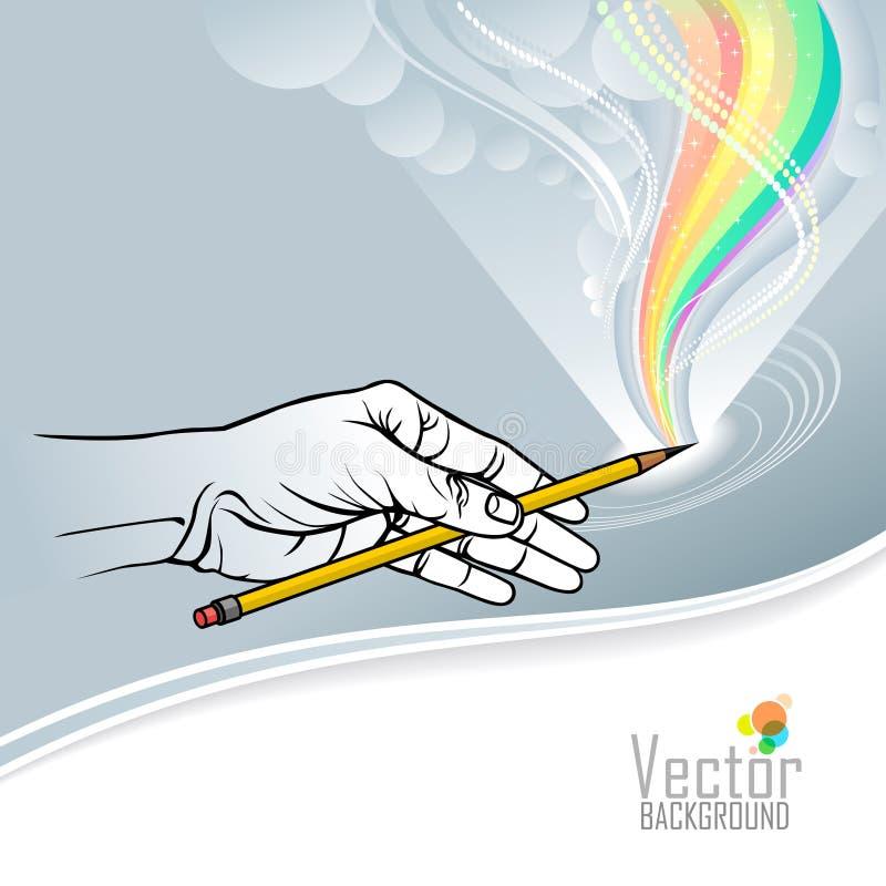Eine schöne Vektorillustration einer Hand, die einen Bleistift hält und einen bunten Regenbogen zeichnet lizenzfreie abbildung