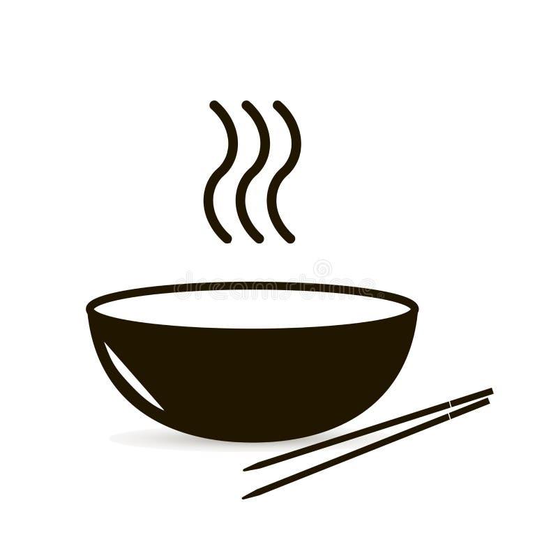 Eine Schüssel heiße Suppe Asiatische Stöcke vektor abbildung