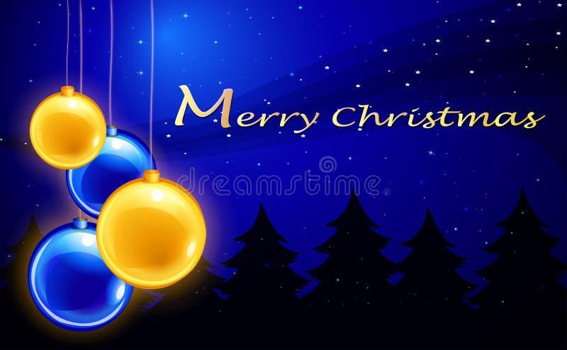 Eine Schablone der frohen Weihnachten mit vier Bällen stock abbildung