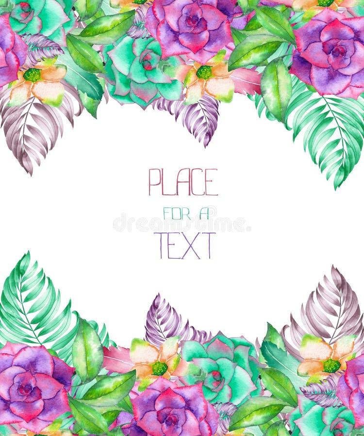 Eine Schablone einer Postkarte, Rahmen mit einer Verzierung der Aquarell Succulents, Blumen und Palmblätter, weddin vektor abbildung