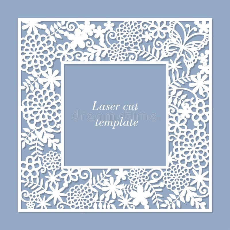 Eine Schablone für Laser-Ausschnitt Ein quadratischer openwork Rahmen lizenzfreie abbildung