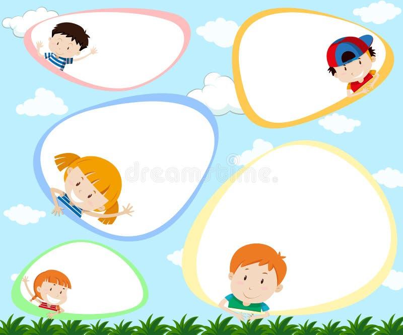 Eine Schablone mit glücklichen Kindern lizenzfreie abbildung