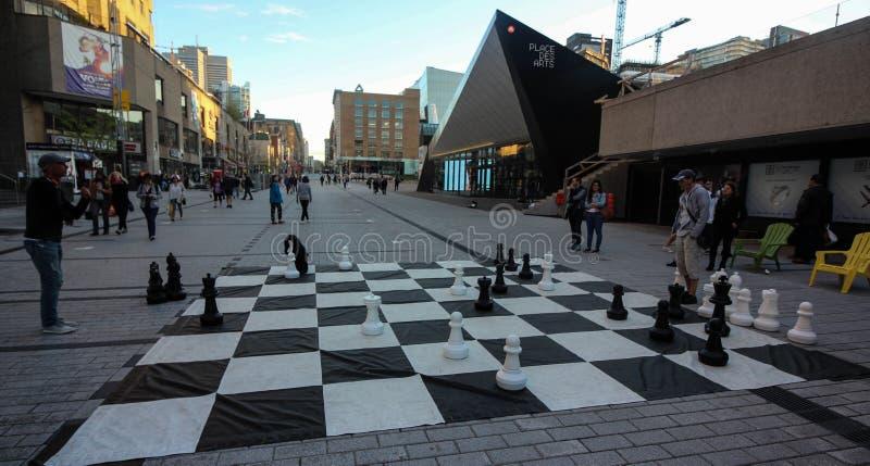 Eine Schachausstellung, zum Montreal-` s 350. von Jahrestag zu feiern stockfotografie