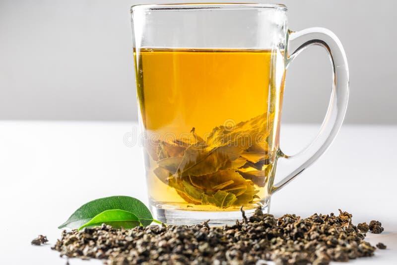 Eine Schale gr?ner Tee mit getrocknetem gro?em Blatttee und frischen Teebl?ttern auf einem wei?en Hintergrund Di?t und gesundes G lizenzfreies stockfoto