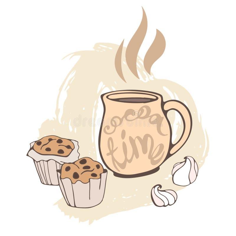 Eine Schale heißer Kakao mit Eibischen und einem Schokoladenkuchen lizenzfreie abbildung