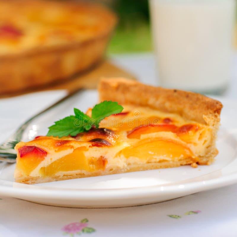 Eine Scheibe der Pfirsich-Vanillepudding-Torte lizenzfreie stockbilder