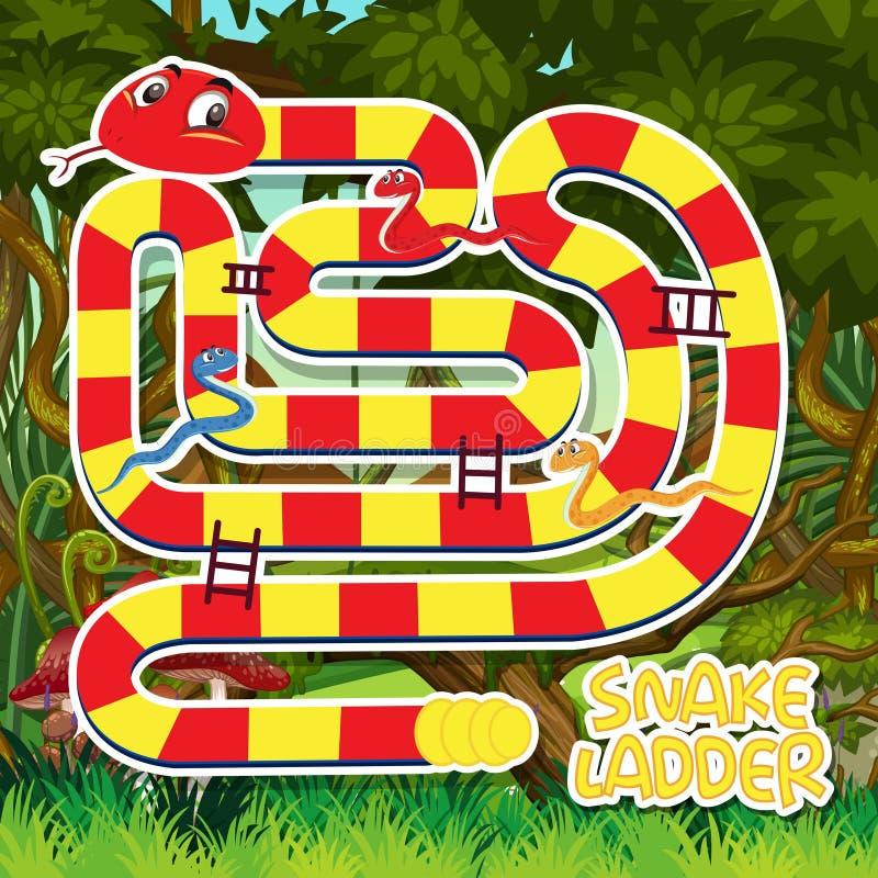 Eine Schlangenleiter-Spielschablone stock abbildung