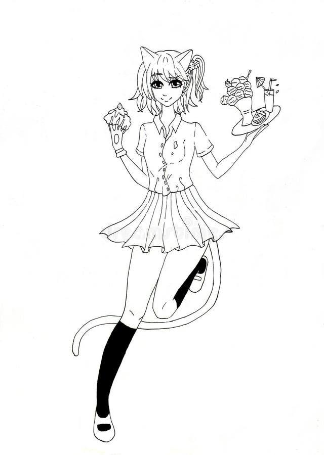Eine Schwarzweiss-Zeichnung einer Katzenart-Mädchenkellnerin lizenzfreie abbildung