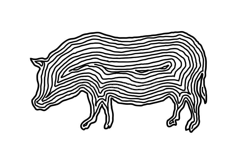 Eine Schweinillustrationsikone in der Schwarzoffsetlinie Fingerabdruckart stock abbildung