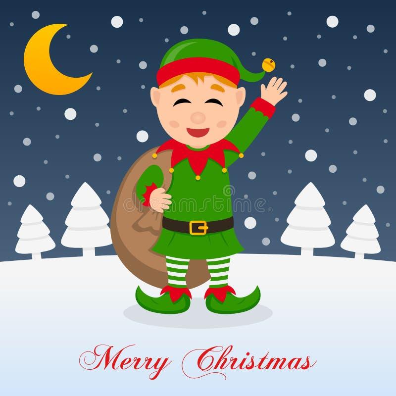 Eine sehr fröhliche Heilige Nacht - grüne Elfe lizenzfreie abbildung