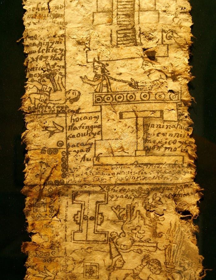 Eine Seite des Kodexes. Aztekisches Reich, Herrschaft des Kaisers lizenzfreie abbildung