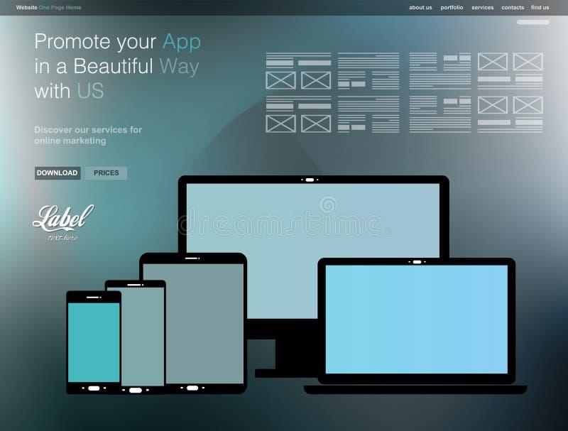 Eine Seiten-klare moderne Websiteschablone für einen APP-Schaukasten stock abbildung