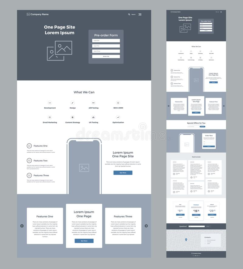 Eine Seitenwebsite-Designschablone für Geschäft Landungs-Seite Wireframe Flaches modernes entgegenkommendes Design UX UI vektor abbildung