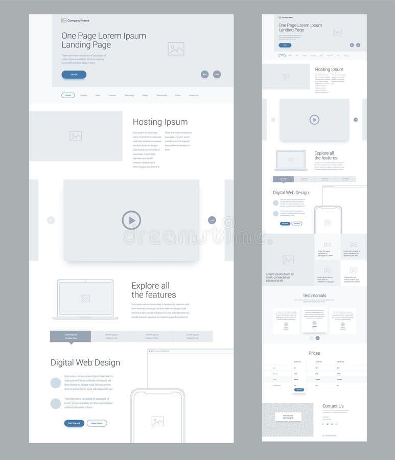 Eine Seitenwebsite-Designschablone für Geschäft Landungsseite wireframe Digital-Netz Flaches modernes entgegenkommendes Design Ux lizenzfreie abbildung