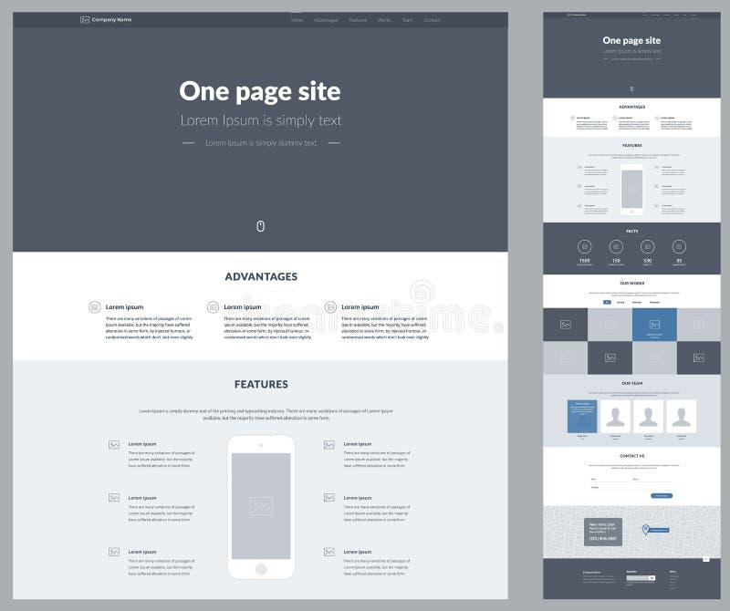 Eine Seitenwebsite-Designschablone für Ihr Geschäft Landungs-Seite Wireframe Ux-ui Websitedesign Flaches modernes entgegenkommend stock abbildung