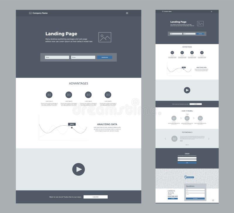 Eine Seitenwebsite-Designschablone f?r Gesch?ft Landungs-Seite Wireframe Flaches modernes entgegenkommendes Design Ux-ui Websites stock abbildung