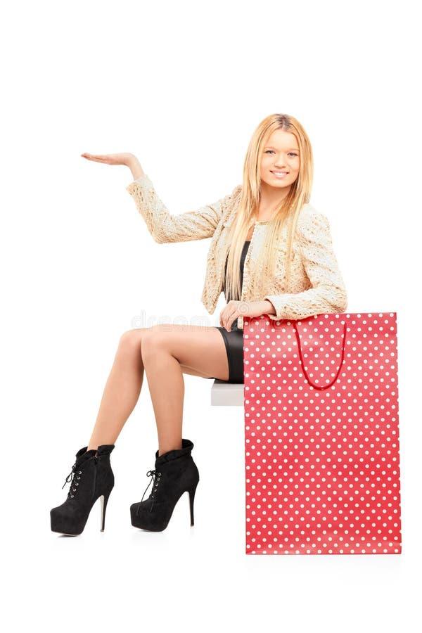 Eine Sexy Junge Frau, Die Nahe Bei Einer Einkaufstasche Gestikuliert Lizenzfreie Stockfotografie
