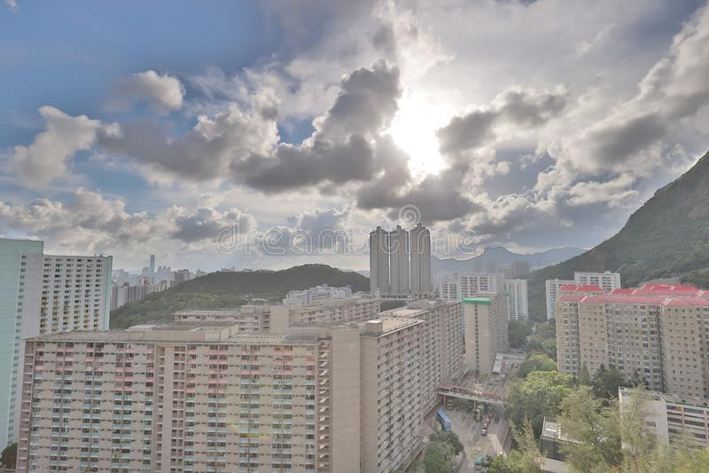eine Shun Lee-Bezirk kwun Zange in Hong Kong lizenzfreie stockfotos
