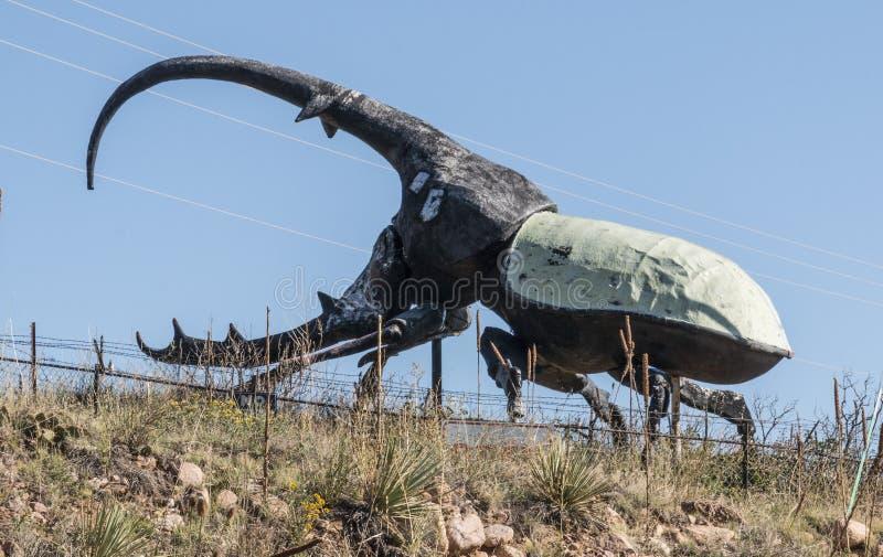 Eine Skulptur eines großen westindischen Herkules-Käfers in Colorado Springs, Colorado stockfotografie