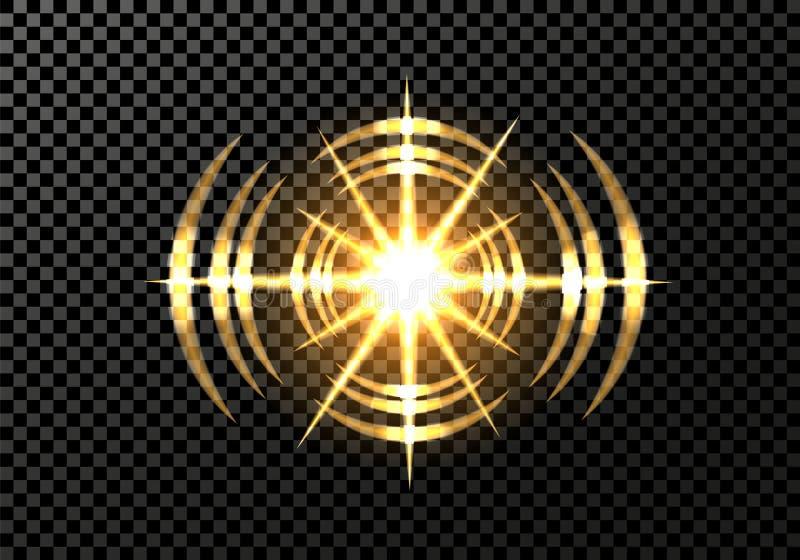 Eine Sonneneruption, ein neuer Stern, Äther, bewegt wellenartig Lichteffekt auf einem transparenten Hintergrund Abbildung vektor abbildung