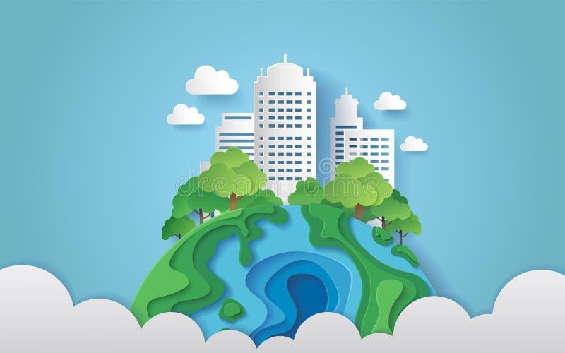 Eine Stadt umgeben durch Bäume auf der Erde mit Wolken Papierkunstart stock abbildung