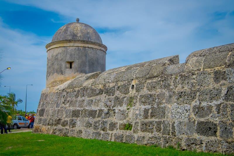 Eine Steinmauer befestigend im Stadtzentrum von Cartagena stockfotografie