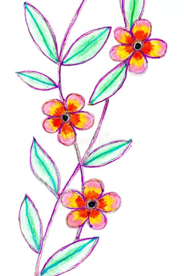 Eine Stift- und Bleistiftskizze von drei Blüten lizenzfreie abbildung