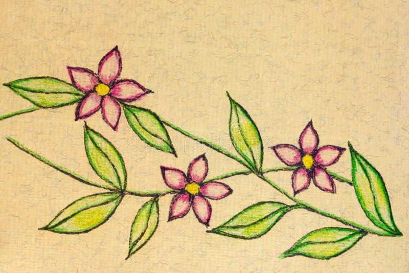 Eine Stift- und Bleistiftskizze von drei Blüten vektor abbildung