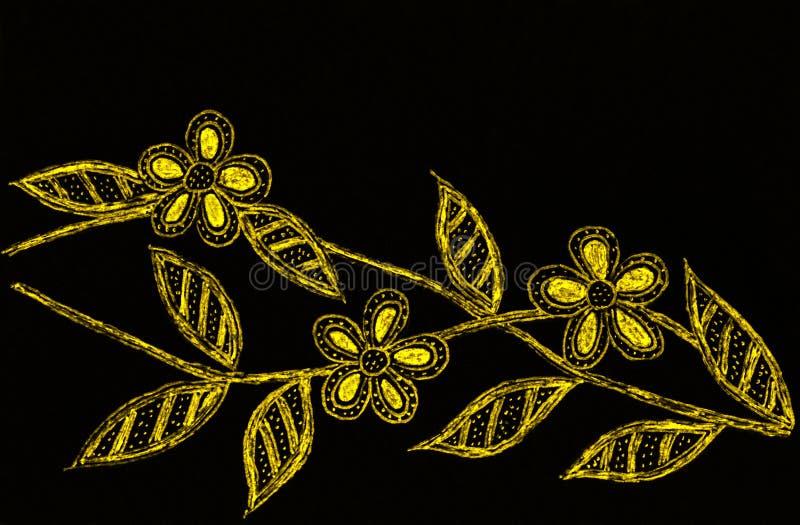 Eine Stift- und Bleistiftskizze von drei Blüten stock abbildung