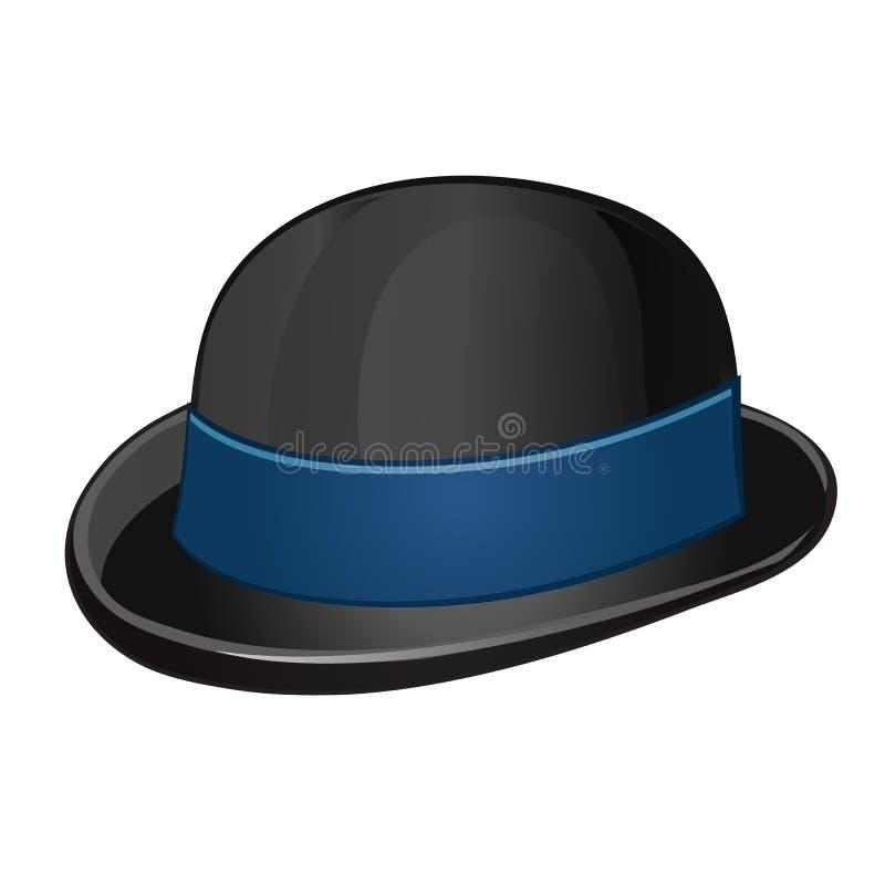 Eine stilvolle schwarze Melone mit dem blauen Band lokalisiert auf einem weißen Hintergrund Auch im corel abgehobenen Betrag vektor abbildung