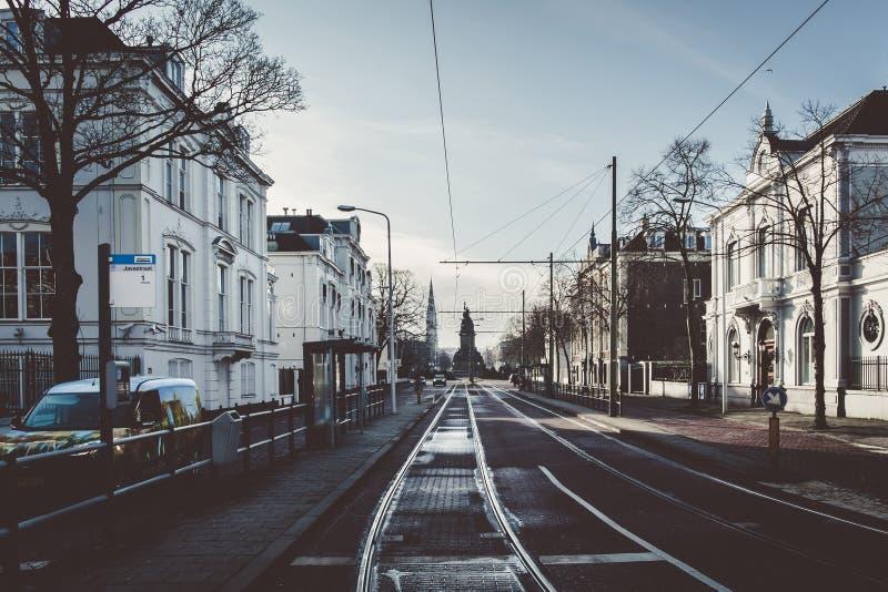 Eine Straße in Den Haag lizenzfreies stockfoto